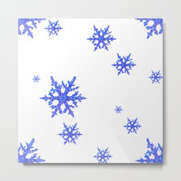 DECORATIVE WINTER WHITE SNOWFLAKES Metal Print