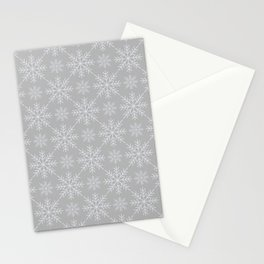 Snowflakes on Gray Stationery Cards