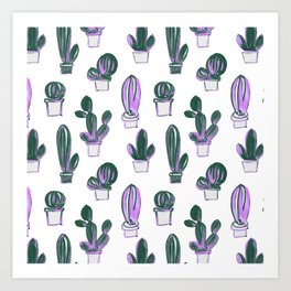Modern hand painted forest green pink lilac watercolor cactus Art Print