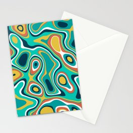 Abstract colorful flowing wavy shapes pattern Stationery Cards