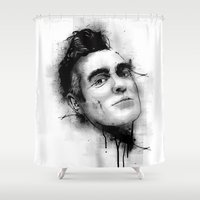 smiths Shower Curtains featuring Smiths  by Mr Skillmatik