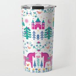 Scandinavian Fairytale in Teal + Magenta Travel Mug