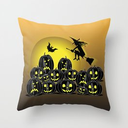 Pumpkins and witch in front of a full moon Throw Pillow