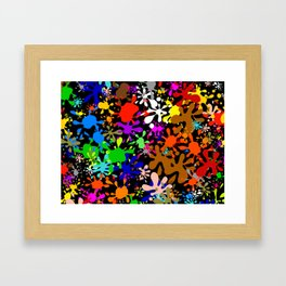 Colourful Fun Paint Blots and Stains Framed Art Print