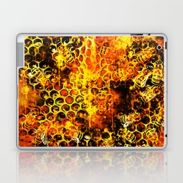 bees fill honeycombs in hive splatter watercolor Laptop & iPad Skin