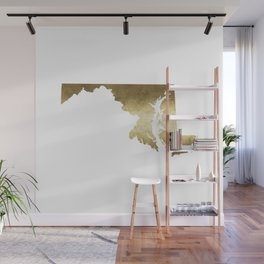 maryland gold foil state map Wall Mural