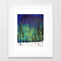 northern lights Framed Art Prints featuring Northern Lights by Ruth Oosterman
