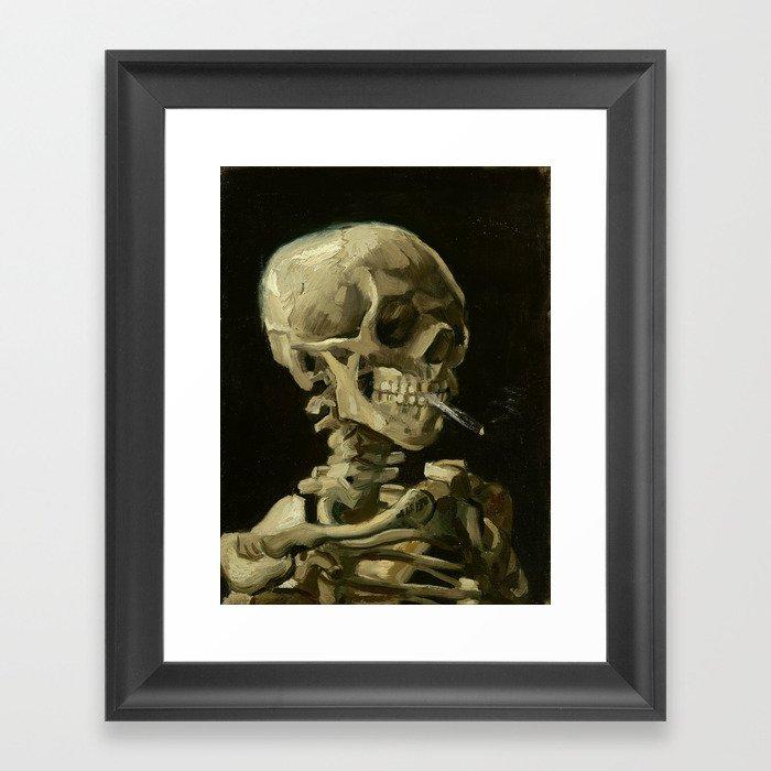 Skull of a Skeleton with Burning Cigarette by Vincent van Gogh Gerahmter Kunstdruck