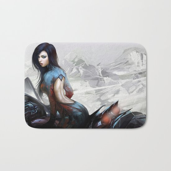 Huh... Hot girl on motorcycle Bath Mat