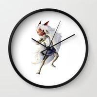 princess mononoke Wall Clocks featuring Princess Mononoke by Leanne Engel