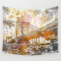 bridge Wall Tapestries featuring Brooklyn Bridge by LebensART