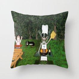 Corky the Grillman Throw Pillow