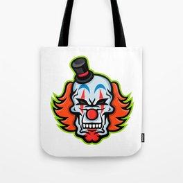Whiteface Clown Skull Mascot Tote Bag
