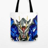gundam Tote Bags featuring Gundam 00 by Glen Howy