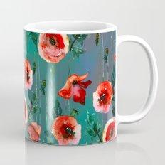 Dark Poppy Floral Mug