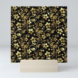 Black and gold floral damask pattern Mini Art Print
