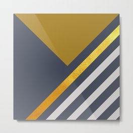 Yellow Triangle On Grey With White And Gold Stripes Metal Print