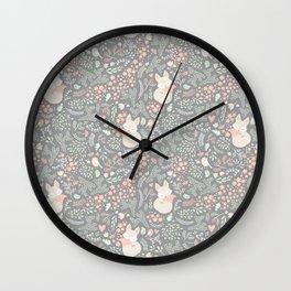 Sleeping Fox - grey Wall Clock