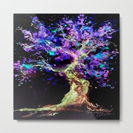 Wild Neon Apple Tree Watercolor by CheyAnne Sexton Metal Print
