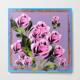 Pink -Black Color  Roses  Lavender Garden Pattern Blue Art Metal Print