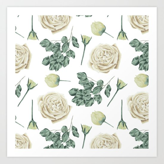 Flower Shop Ivory Cream Roses Pattern Art Print