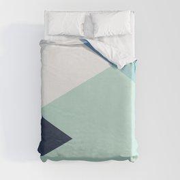 Geometrics - seafoam & blue concrete Duvet Cover