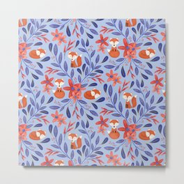 Folk Art Foxes | Blue and Coral Metal Print