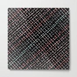 pastel grid pattern doodle on black Metal Print