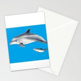Bottlenose dolphin blue background Stationery Cards