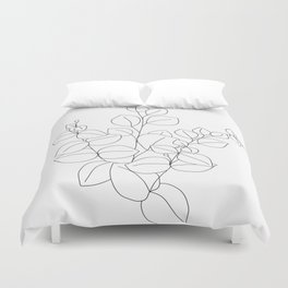 Minimalistic Eucalyptus  Line Art Duvet Cover