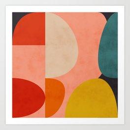 geometry shape mid century organic blush curry teal Art Print