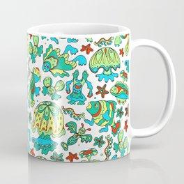 A pattern of fancy bizarre sea creatures. Style Doodle. Vector illustration. Coffee Mug