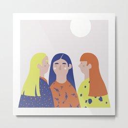 Three Girls and Moon Metal Print