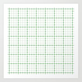 Dotted Grid Weave Green Art Print
