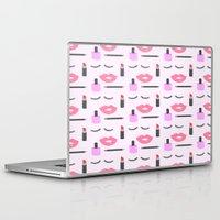 makeup Laptop & iPad Skins featuring Makeup Pattern by adorkible