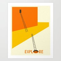 explore Art Prints featuring EXPLORE by Jazzberry Blue
