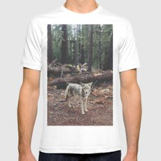 Injured Coyote White SMALL Mens Fitted Tee