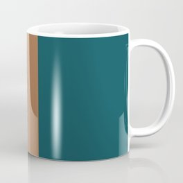 Shapes and Lines in Earthy Teal, Yellow, and Tan Coffee Mug