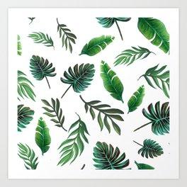 palm leaf print, tropical watercolor Art Print