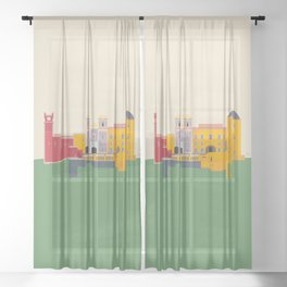 Pena Palace, Sintra, Portugal Travel Poster Sheer Curtain