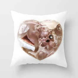 Flower Agate Heart Throw Pillow