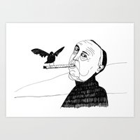 hitchcock Art Prints featuring Hitchcock by Elena Éper