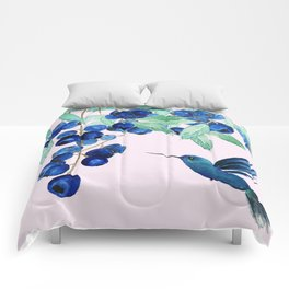 blueberry and humming bird Comforters