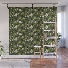 Indoors & outdoors (green camo) Wall Mural