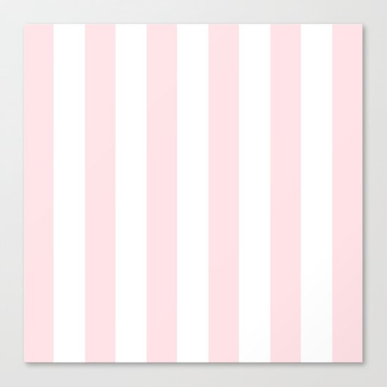 Simply Vertical Stripes Flamingo Pink on White Canvas Print