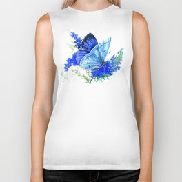 Blue Butterfly, blue butterfly lover blue room design floral nature Biker Tank