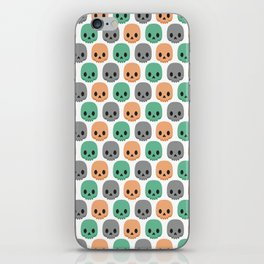 Orange, green and grey skulls iPhone Skin