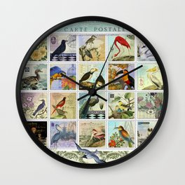 Birds of a Feather Postal Collage Wall Clock