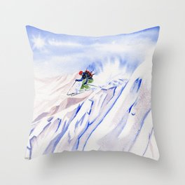 Powder Skiing Throw Pillow