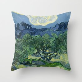 "Vincent van Gogh ""Olive Trees with the Alpilles in the Background"" Throw Pillow"